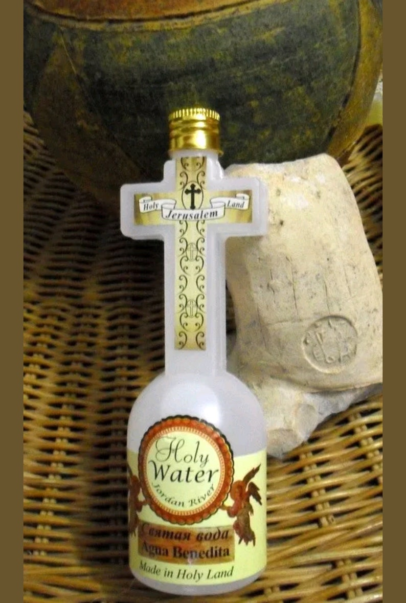 HOLY WATER from Sacred Jordan River buy  gift,cross,jerusalem,religion,sale,crucifix,olive  wood,blessing,beads,magenta,red string,candle