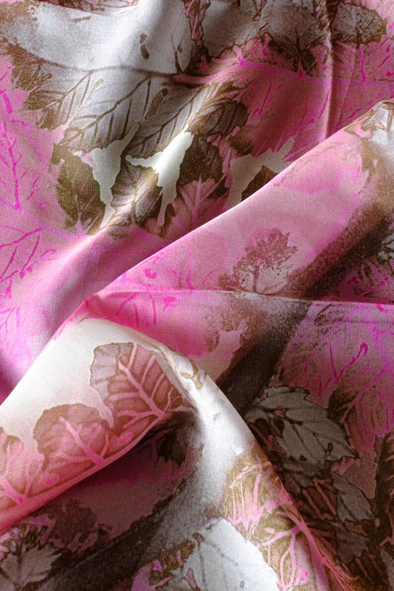 ced1e74f1e6 Silk Chiffon Scarf Pink Tree Fern