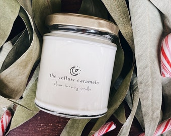 CANDY CANE | Peppermint & Vegan Vanilla | Minty Scent Candle | Sweet and Fresh Fragrance | Slowburning Candle | Vegan Gift