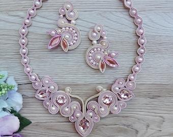 pink soutache jewelry set, soutache jewelry, soutache necklace, soutache earrings, Soutache Jewelry, Statement, bridal jewelry