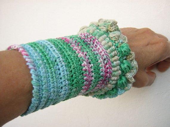 Crochet Bracelet Free Form Bracelet Cuff Crochet Wrap Bracelet Etsy