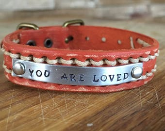 Leather YOU ARE LOVED bracelet watchband adjustable rustic