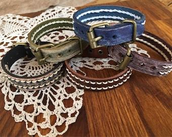 Leather bracelet watchband adjustable rustic