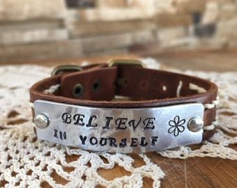 Leather Believe in Yourself bracelet watchband adjustable rustic