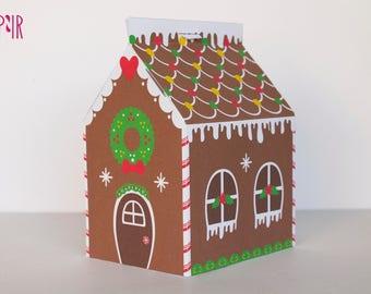 printable gingerbread house christmas candy box christmas box house treats box candy box xmas gift idea xmas gift cute gingerbread