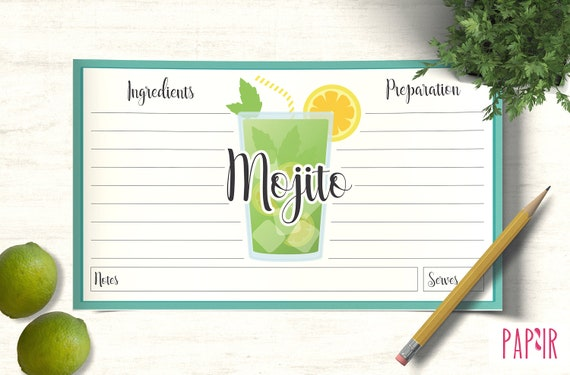 card recipe template mojito cocktail template printable etsy. Black Bedroom Furniture Sets. Home Design Ideas