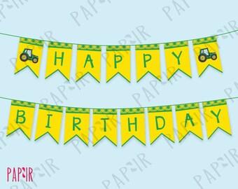 Tractor Birthday Party Banner | green yellow tractor farm garland, barn bash happy birthday decorations, john deere, tractor birthday