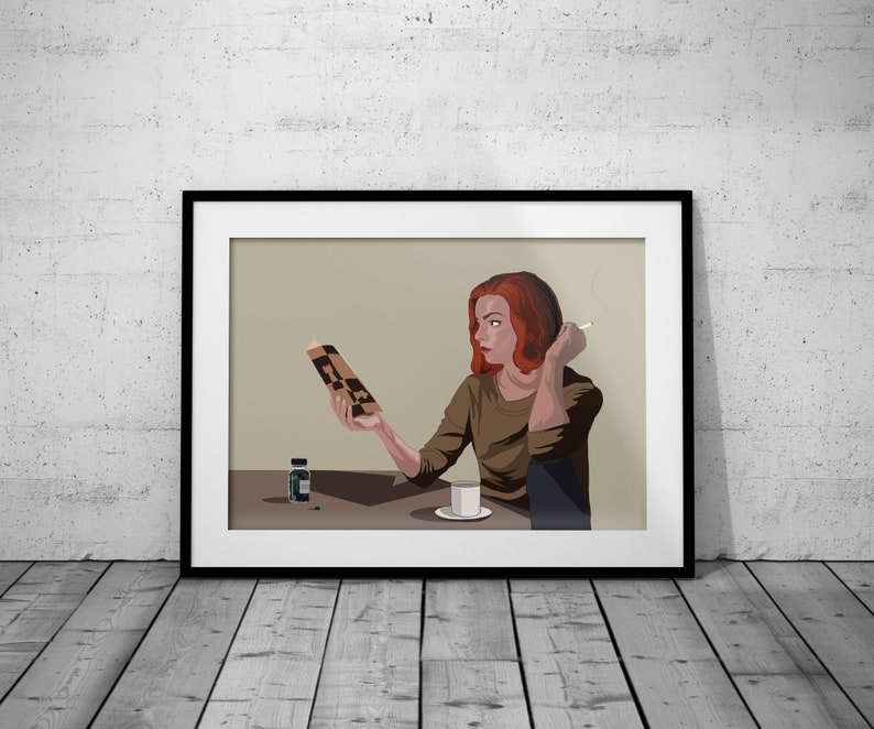 A3A4 Illustrated The Queens Gambit Print Netflix Series inspired Wall Art Chess Anya Taylor-Joy Movie Poster retro Film 1960