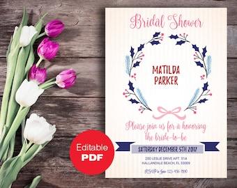 Bridal Shower invitation, Bridal Shower invite, Stripe bridal invitation, Wedding shower, DIY invitation, Editable bridal invitation