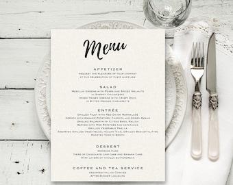 Wedding menu Printable menu template Editable menu Wedding menu card template Rustic wedding menu Printable wedding menu Dinner menu cards
