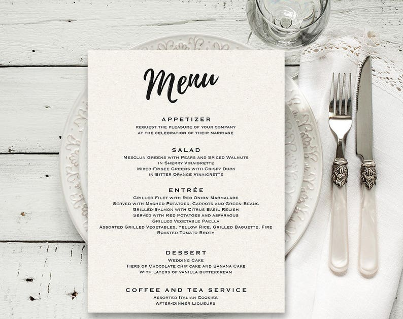 Wedding menu Printable menu template Editable menu Wedding image 1