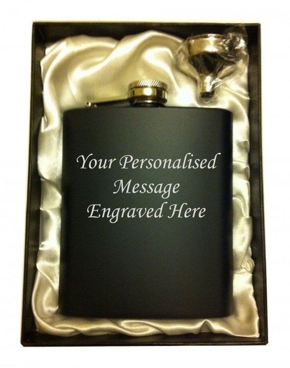 funnel HIP FLASK IN PRESENTATION GIFT BOX 4 shots