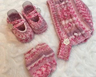 To order / set baby girl 0-6 months/knitting/wool/shoes/Hat/mittens/Rose/flower