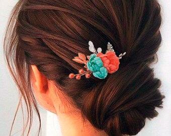 Beach wedding hair accessories Coral  turquoise silk bridal hair comb Blue turqoise hair piece Floral hair clip Flower headpiece for bride