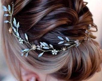 White opal Vine Headband Opal crystals bridal wreath Opal Crystal Hair Vine  Boho Head Piece Bohemian Gold Wedding Headpiece bohemian style 02047fe136a