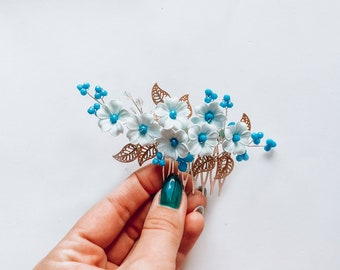 Dusty Blue hair flower hair comb Something blue hair accessory Bride hair piece gold leaf combs for hair Wedding headpiece Gift for bride