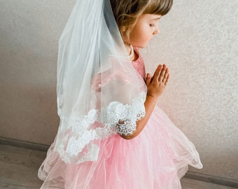 First communion veil 1st holy communion veil Two tier Lace communion veil White Girls veil Flower girl veils Custom Little girls veil