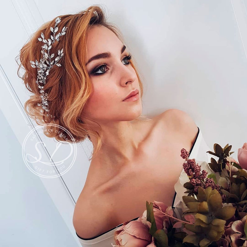 Crystal Bridal Headpiece Hair Clip-Bridal Rhinestone Clip-Brides Headpiece-Silver Wedding Headpiece-Veil Decoration-bridal hair accessories