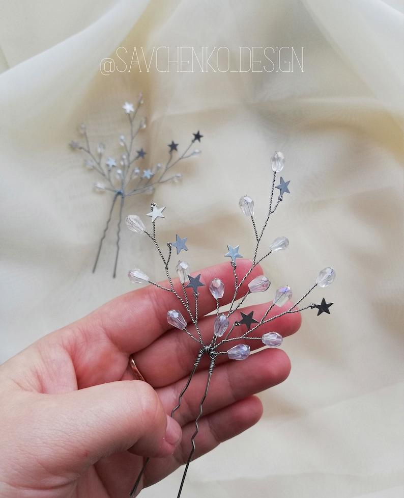 Wedding Hair Pins of Stars Celestial Wedding Stars hair pins embellished star Bobbie Pins starry headpiece bridal hair accessories tocado
