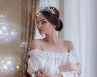 Golden silver quinceanera crown Queen victoria reproduction Bridal diadem Wedding headpiece Bridal tiara Crystal silver crown
