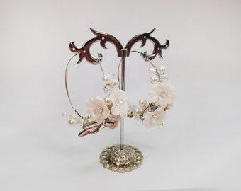 Floral hoop earrings Bridal earrings Boho wedding earrings 50 mm gold or silver hoop earring lesbian earrings Dangle Pearl earrings