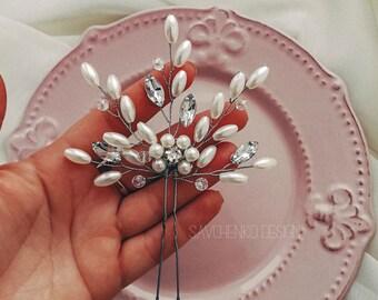 White pearl hair pin Rose gold hair piec Delicate flower hair piece Bridesmaids gifts Bridal hair clip Wedding hair accessories for bride