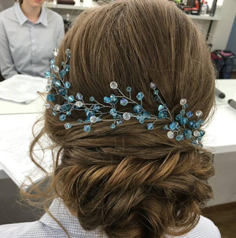 something Blue wedding hair accessories Mermaid tiara blue headpiece Beach Long Hairvine tocado moldeable novia braut haarschmuck blau gold