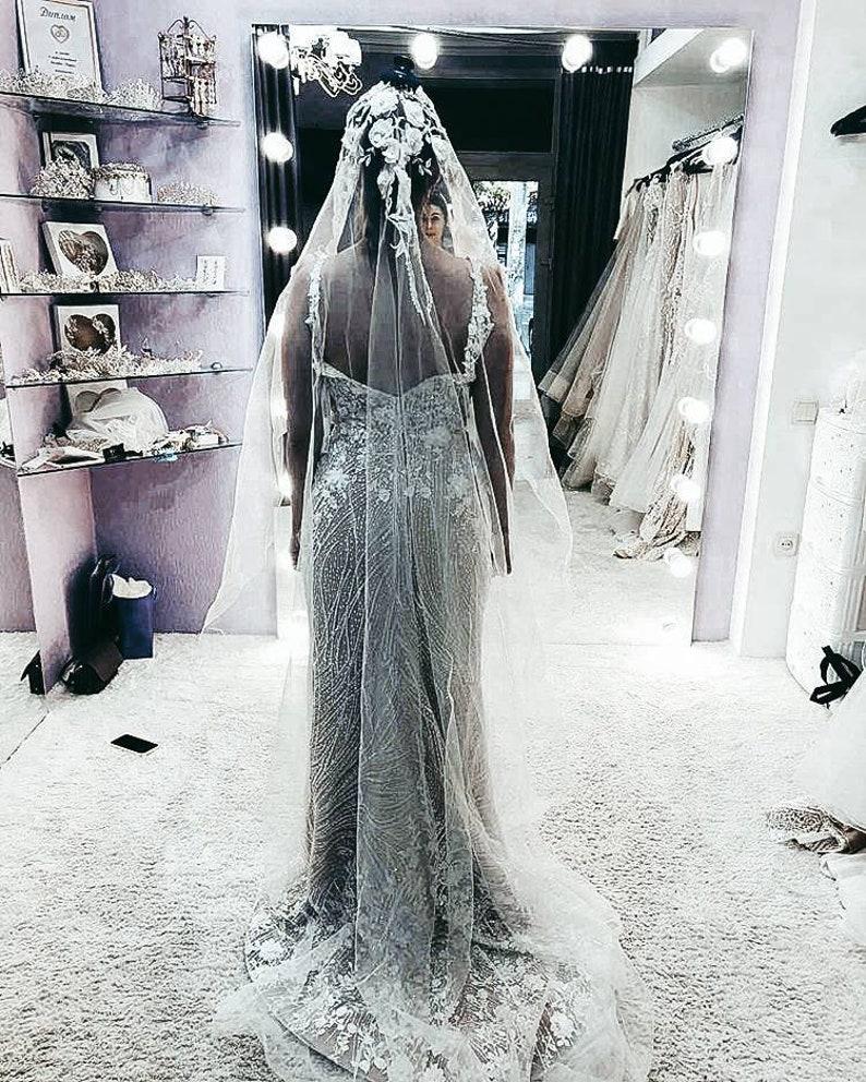 3d veil Spanish veil with 3d flowers,cathedral wedding veil,3D Veil for Bohemian Bride,Juliet Cap Veil,Bohemian Chapel Length Veil