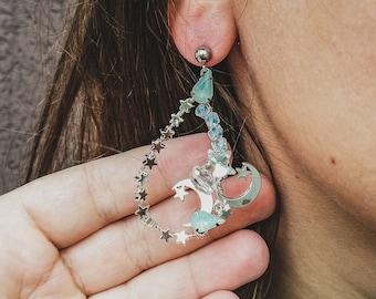 Moon and Star Earring Silver Celestial earrings White opal statement earrings Moonstone Bridal earrings crescent moon Dangle earrings