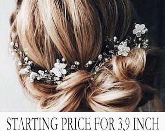 Bridal hair vine,wedding hair accessories,boho floral hair piece,Delicate flower pearl headpiece,beach wedding hair wreath,flower hair piece