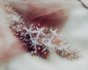 Coral beach wedding hair accessories Starfish hair comb with peach beads Mermaid hair piece Starfish hairpiece Mermaid costume Seashell hair