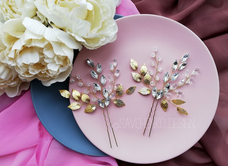 Rose gold leaves hair pins Greek Goddess Hair Pin Bridesmaid hair pins Gold  bridal headpiece Bridesmaid gift Bridal hair pins Wedding Clips