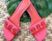 Vintage 1990 39 s Leather Pink Red Slide Mule Sandals Size 6.5