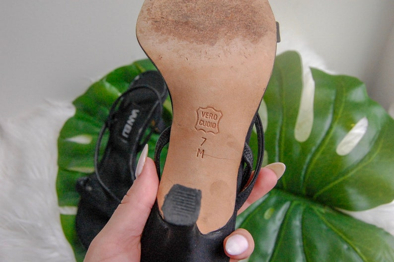 1990/'s Vaneli Black Nylon Slingback Kitten Heels  Size 7