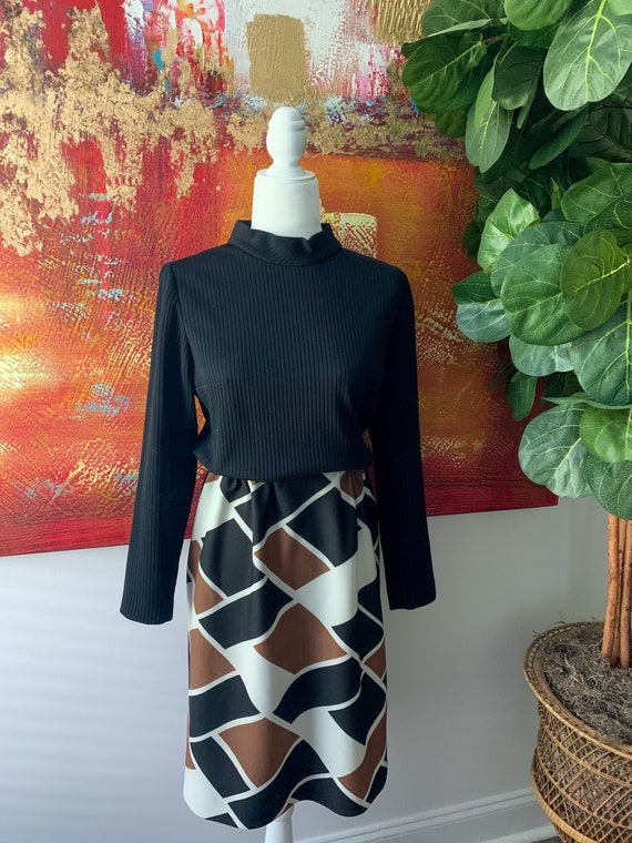 Vintage 1960's Mock-neck Knit Geometric Mini Dress