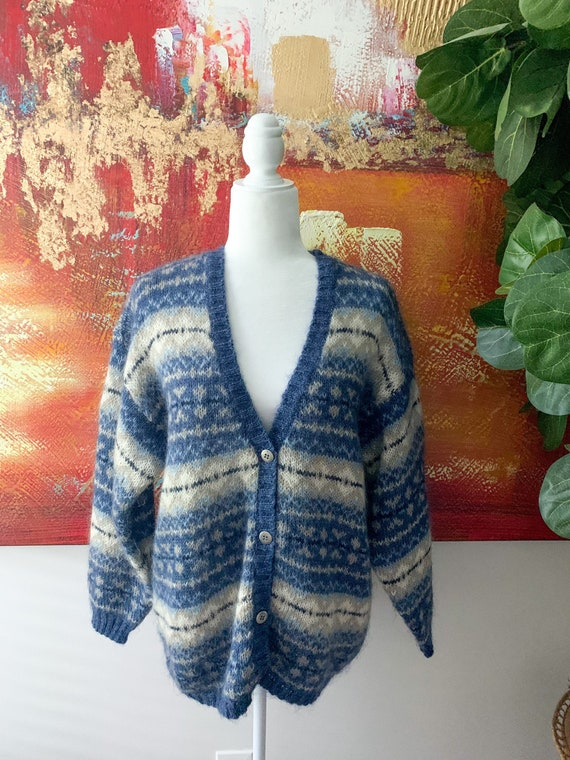 Vintage 1990's Oversized Mohair Cardigan Sweater