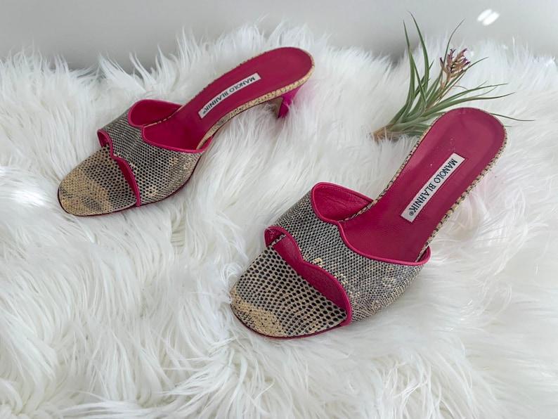 Vintage Manolo Blahnik Fuchsia /& Snakeskin Sandals