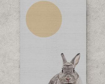 Rabbit Print, Rabbit Wall Decor, Woodlands Nursery Art, Black and White Baby Animal Print, Printable Black and White Bunny, Digital Download