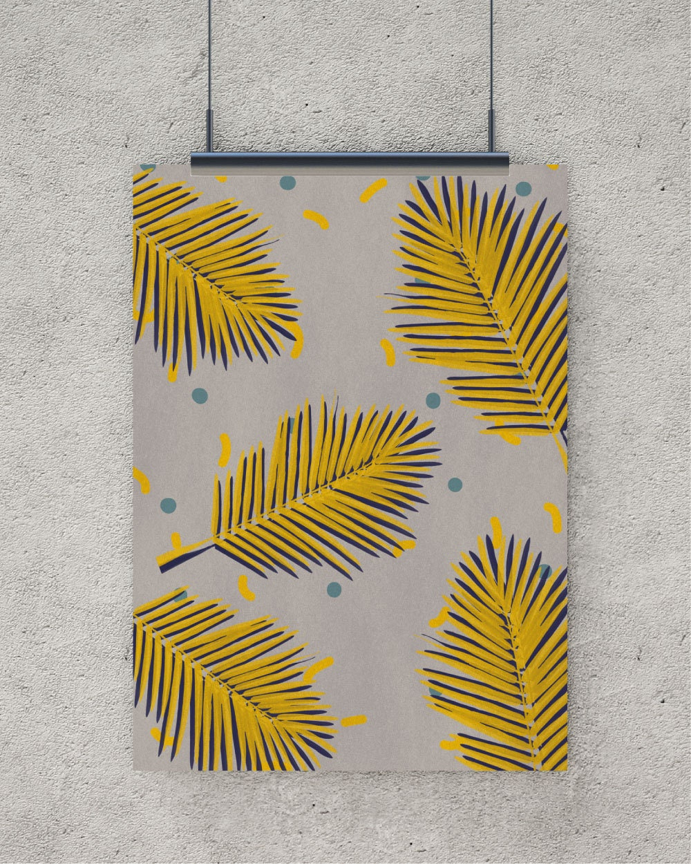 Retro print Palm leaf digital download art retro poster | Etsy
