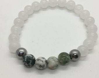 Moss Agate and Quartz Bracelet