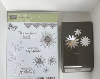 Grateful Bunch retired stampin up set with matching punch, floral, butterfly, sentiments