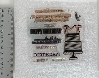 Clear retired stamp set from close to my heart. Belated birthday wishes and birthday cake