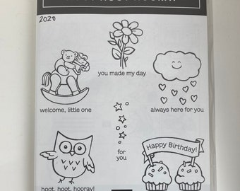 Hoot hoot hooray, retired stampin up set, owl, rocking horse with bear, cupcakes, flower, clouds.