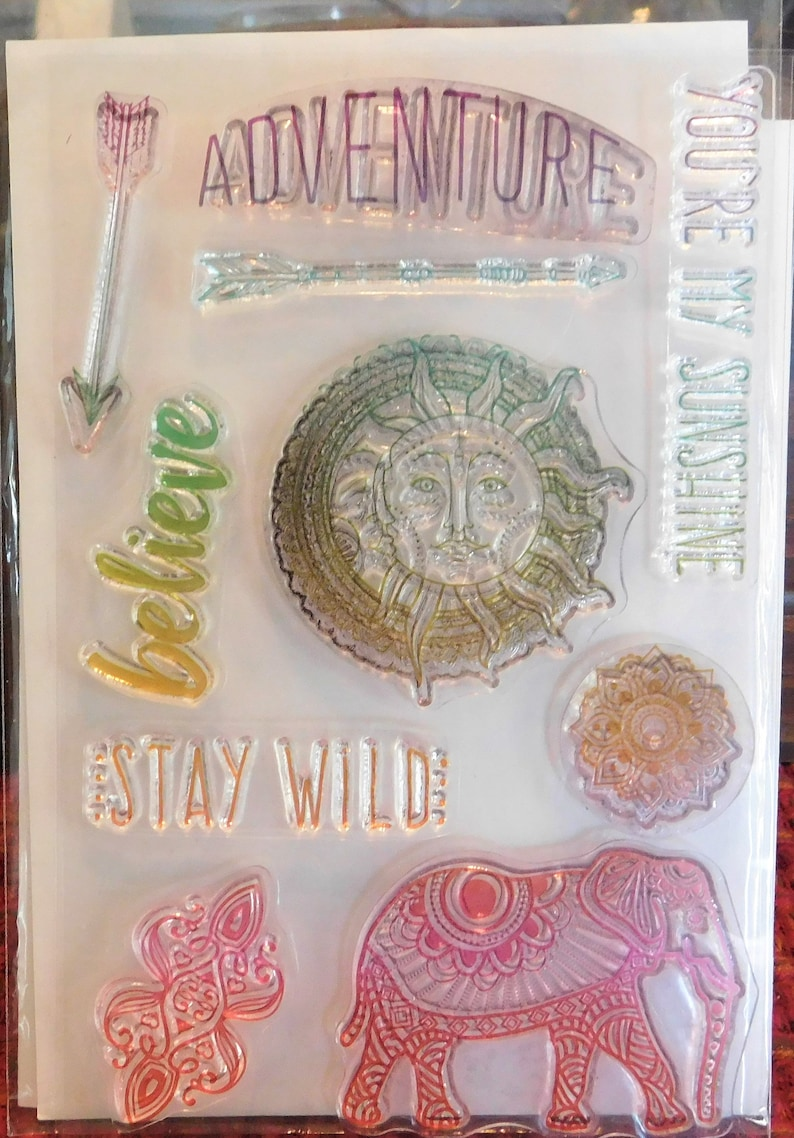 Clear Stamp Set Adventure Believe Stay Wild Elephant Sun image 0