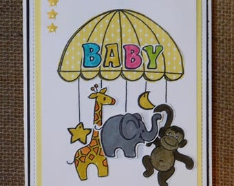 Homemade hand stamped Baby card with zoo animals