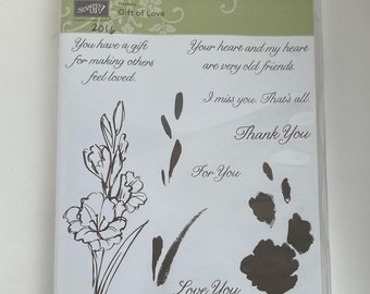 Gift of Love stampin up, retired stamp set, floral with lovely sentiments