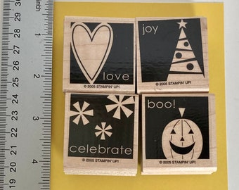 Stampin up retired say it simply, celebration wooden stamp set Holidays