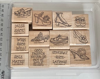 Stampin up retired steppin' style, shoes, sentiment puns wooden stamp set