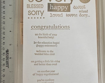 Stampin up retired: so very and congrats. Sentiments wooden