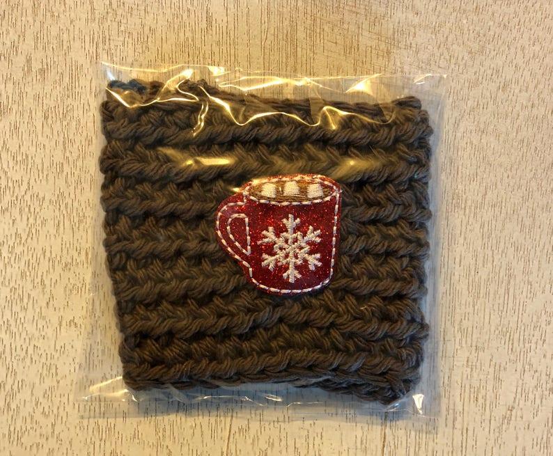 Hot Chocolate Crochet Coffee Cozy Drink Sleeve coffee cup image 0
